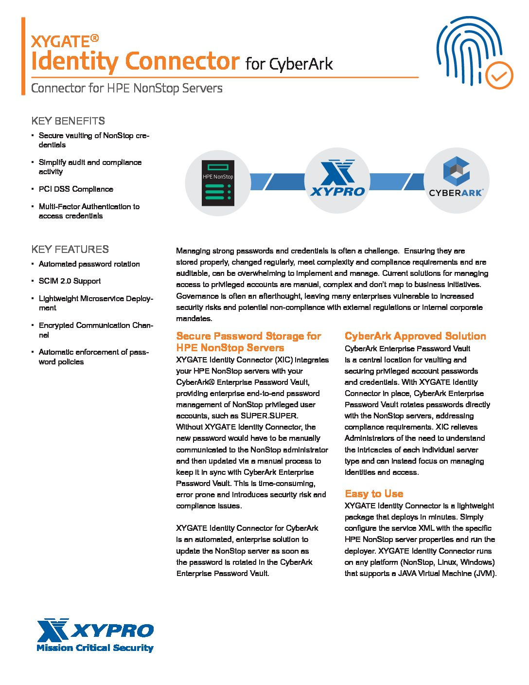 XYGATE Identity Connector for CyberArk Data Sheet (PDF)
